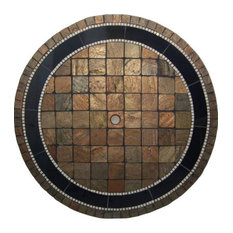 """Rustic Mosaic Stone Round Dining Table, 30"""""""