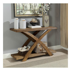 Wooden Sofa Table With Angled X-Shaped Base Antique Light Oak Brown