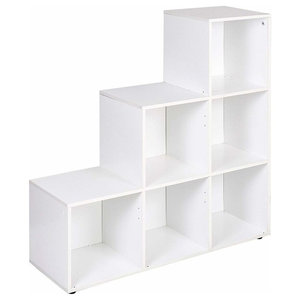 Modular Display Storage Unit, Painted MDF With 6 Open Compartments, White