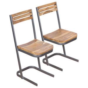 vidaXL Solid Teak Wood Dining Chairs, Set of 2