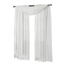 "Abri Single Rod Pocket Sheer Curtain Panel, White, 50""x84"""