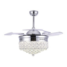 Dimmable Modern Crystal Ceiling Fan with LED Light, Retractable Chandelier Fan