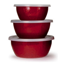 RR30 Red on Red Pattern, Enamelware Nesting Bowls