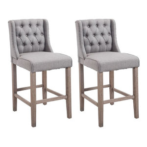 "HomCom 40"" Fabric Wingback Counter Height Armless Dining Chairs, Set of 2, Gray"