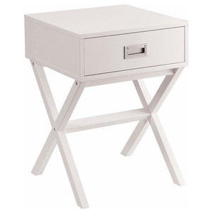 Contemporary Bedside Table in White Finished MDF With Storage Drawer