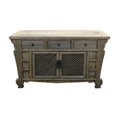 Rustic Raw Wood Bold Look Sideboard Buffet Table