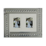 Mirrored Silver Picture Frame With Inlaid Crystal Style Droplets, 2 Images