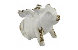 White Ceramic Flying Pig Angel Statue Distressed Finish