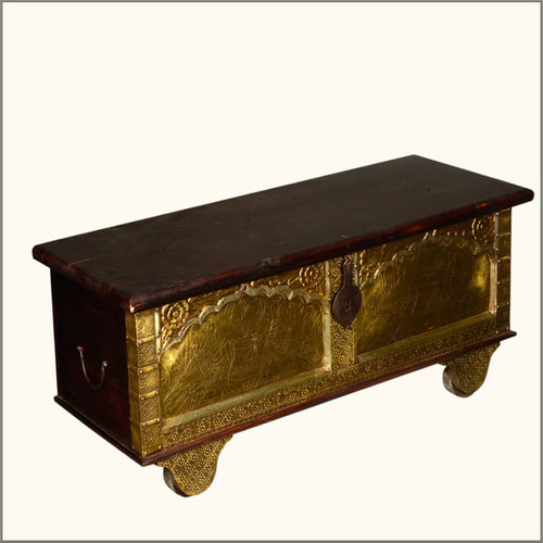 Queens Treasure Indian Rosewood Brass Rolling Coffee Table Hope Chest    Accent Chests And Cabinets