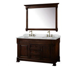 "Wyndham Collection 60"" andover Double Sink Bathroom Vanity Set, Dark Cherry"