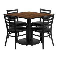 36-inch Walnut Laminate Table Set Base 4 Ladder Back Metal Chairs-Black Vinyl Seat