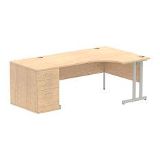 Impulse Small Cantilever Right Hand Workstation, Maple, 80 cm Pedestal Bundle