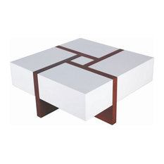 Square Coffee Table With 4 Storage Drawers, Chestnut and White