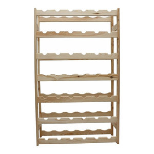Traditional Wine Rack, Untreated Wood With 7-Tiers for Placing Your 42-Bottle