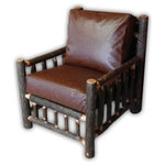 Vienna Industries LLC - Rustic Hickory Log Living Room Chair Recycled Leather Cushions - This chair is made from hickory log with the bark left on the logs. This listing is for a single chair, with the cushions pictured included.