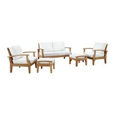 Modway Marina 5 Piece Outdoor Patio Teak Sofa Set EEI-1472-NAT-WHI-SET