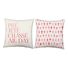 Plie Jete Chasse Pillow Covers 20x20 White Outdoor Shams