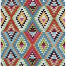 - Alexandria Tribal Geometric Wool Flatweave - Floor Rugs