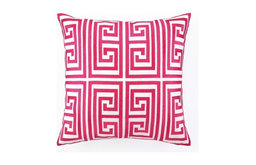 Greek Key Embroidered Pillow, Magenta