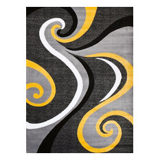 "Persian Rugs Modern Trendz Collection 0327, Yellow, 5'2""x7'2"""