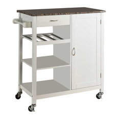 Pilaster Designs   Charlotte Wood And Marble Kitchen Storage Cart, White   Kitchen  Islands And