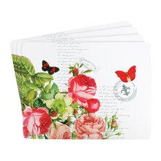 Postcard White Large Hardboard Placemats, Set of 4