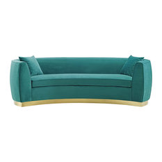 Curved Performance Velvet Sofa Teal