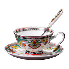 Retro Vienna Courtly Style Coffee Cup Set With Plate, Spoon