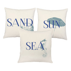 Sun Sand Sea Blue Nautical Throw Pillows, In/Outdoor Covers Only