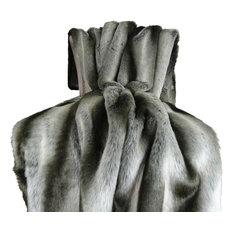 """Plutus Gray Chinchilla Faux Fur Handmade Throw, 60""""x90"""""""