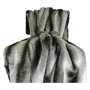 "Plutus Gray Chinchilla Faux Fur Handmade Bedspread, 80""x110"""