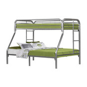 Bunk Bed, Twin, Full Size, Silver Metal