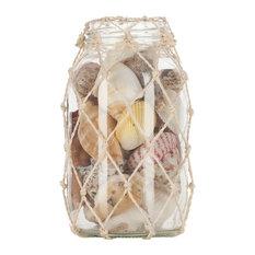 "Natural Seashells in Abaca Net,  6"" Jar"