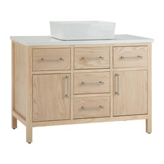 Patton Bath Vanity With White Engineered Marble Top, Natural, 42""