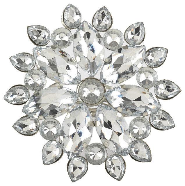 Silver Jeweled Starburst Snowflake Design Napkin Rings - Set of 4