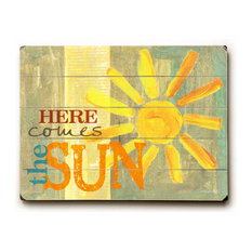 """""""Here Comes The Sun"""" Wood Sign, 12""""x16"""", Planked"""