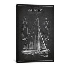 """Sailboat Patent Blueprint"" by Aged Pixel, 60""x40""x1.5"", 1-Piece"