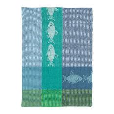 "100% Cotton Blue and Green 20""x28"" Dish Towel, Set of 6, Fish Marine"