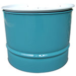 Drum Works Furniture - Turquoise and White Table - Add some green furniture to your life. We recycle and repurpose used steel drums into striking designs. You'll love the fact that we use what industry has already produced and turn it into sturdy and unique furnishings for your home or office. Our products showcase the repurposing movement as a whole, and promote the benefits of using low VOC finishes such as powder coating technology. Our products use; CNC cut components, top grade fasteners and pressure treated wood materials, and are MIG welded for strength and durability. The powder coated finishes of the recycled 55 gallon steel drums are bright and rust resistant. These are real recycled drums, with little dings and dents from years of industrial use, that are sourced from an industrial supplier that cleans and prepares them for repurposed life as furniture. After the drums are transformed into seating designs here at Drum Works Furniture, they are baked at 500 F and then sandblasted and powder coated. But are they comfortable Yes, the natural curve of the drum is the near optimum match to the natural curve of the back.