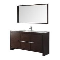 60-inch Viara Espresso Modern Bathroom Vanity With Mirror