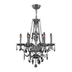 """Provence Collection 6 Light Chrome Finish and Chrome Crystal Chandelier 23"""" D x"""