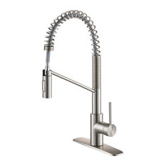 Oletto Commercial Pull-Down 1-Handle 1-Hole Kitchen Faucet 2-Function, SFS Steel