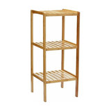Free-Standing Shelving Unit, Natural Bamboo Wood With 3-Open Shelves