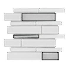 MTO0209 Modern Linear White Gray Glossy Metallic Glass Mosaic Tile