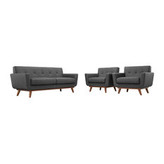 Engage Armchairs And Loveseat Upholstered Fabric 3-Piece Set Gray