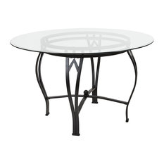Offex 48-inch Round Glass Dining Table With Black Metal Frame