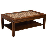 Wooden Coffee Table with Glass Insert Brown