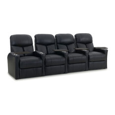Bay - Mast 4-Seat Bonded Leather Recliner, Black, Power, Straight - Theater Seating