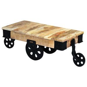 vidaXL Rough Mango Wood Coffee Table With Wheels