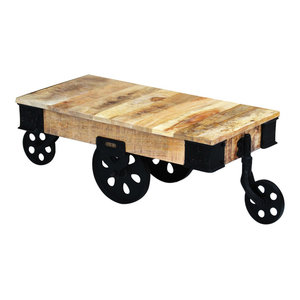 vidaXL Rough Mango Wood Coffee Table With Wheels
